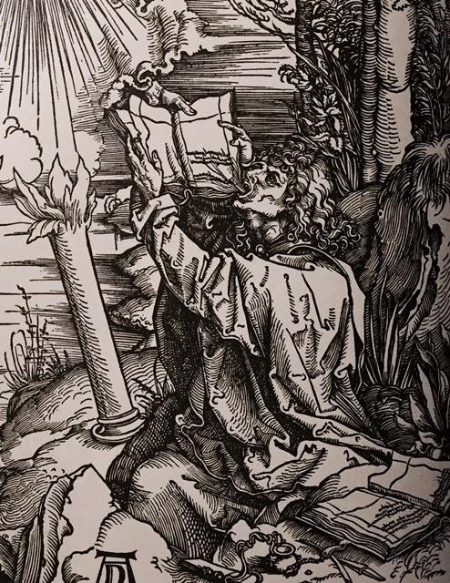 Saint Jean dévorant le livre amer, gravure de Dürer pour l'Apocalypse (détail)